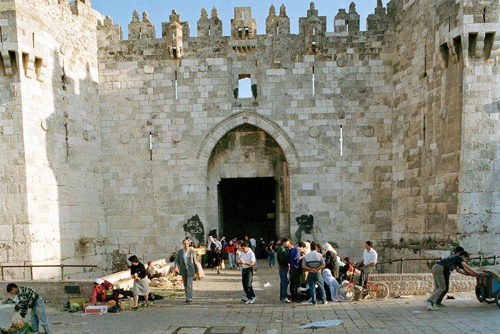 La porte de Damas, l'une des entrées principales de la vieille ville de Jérusalem