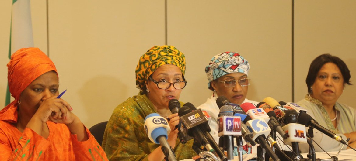 Deputy Secretary-General Amina J. Mohammed (second from the left), alongside UN Women Executive Director Phumzile Mlambo-Ngcuka, Special Representative of the Secretary-General on Sexual Violence in Conflict Pramila Patten, and Minister of Women Affairs and Social Development of Nigeria, Aisha Alhassan, speaking to the press in Abuja.