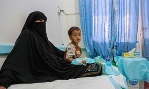 A child receiving treatment for suspected cholera at the centre at Alsabeen Hospital, Sana'a, Yemen.