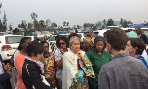 Deputy Secretary-General Amina Mohammed (left) and UN Women Executive Director Phumzile Mlambo-Ngcuka lead high-level mission to Mugunga Camp for internally displaced people, in Goma, Democratic Republic of the Congo (DRC).