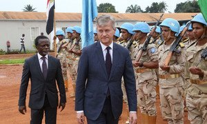 Under-Secretary-General for Peacekeeping Operations, Jean-Pierre Lacroix, (right) visits the UN Multidimensional Stabilization Mission in the Central African Republic (MINUSCA), here pictured with the Special Representative of the Secretary-General and Mission chief, Parfait Onanga-Anyanga.