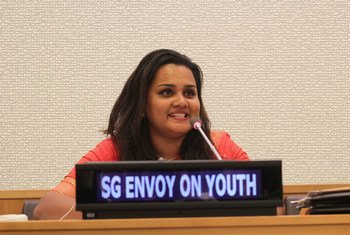 Jayathma Wickramanayake delivers her first public remarks as Youth Envoy at the commemoration of World Youth Skills Day at UN Headquarters.