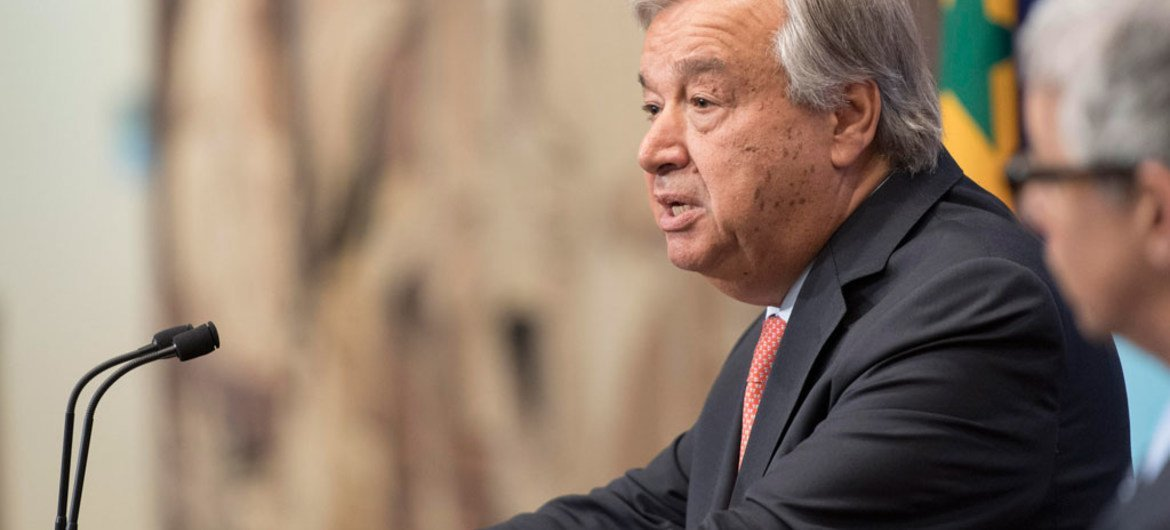 Secretary-General António Guterres speaks to journalists at a press encounter.