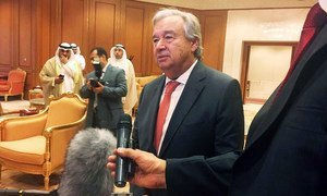 In Kuwait, Secretary-General António Guterres takes questions from reporters.