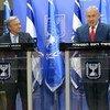 António Guterres, Secretario General de la ONU, con el primer ministro de Israel, Benjamín Netanyahu, en declaraciones a la prensa en Jersusalén.
