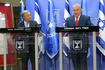 Secretary-General António Guterres (left) and Prime Minister Benjamin Netanyahu of Israel brief the press in Jerusalem.