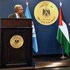 El Secretario General ofrece una conferencia de prensa con el primer ministro palestino, Rami Hamdallah, en Ramala. Foto: Katrin Hett