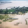 Aerial view of roads and agricultural land inundated by floods in Banke district, south-western Nepal.