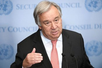 秘书长古特雷斯在纽约总部向记者发表谈话。联合国图片/Evan Schneider