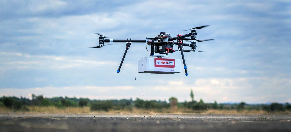 On 28 June 2017, UNICEF Innovation team tests an unmanned aerial vehicle (UAV), also known as a drone, carrying a cargo payload box, which can potentially carry humanitarian supplies at Kasungu Aerodrome in central Malawi.