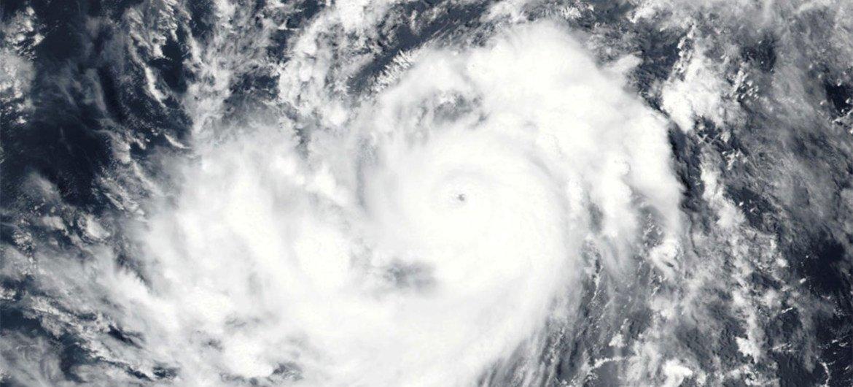 Imagen satelital del huracán Irma en el océano Atlántico. Foto: NOAA