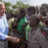 The Secretary-General meets South Sudanese refugees during a visit to Imvepi settlement in northern Uganda in June 2017.