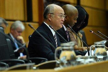 IAEA Director General Yukiya Amano addresses the Board of Governors meeting in Vienna.