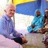 Under-Secretary-General Mark Lowcock meets with a group of displaced women at the N'Gagam site, Diffa region, Niger.