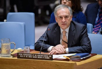 Jean Arnault, Special Representative of the Secretary-General and Head of the UN Verification Mission in Colombia, briefs the Security Council on the situation in the country.