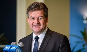 Miroslav Lajčák, the President of the 72nd session of the General Assembly, briefs journalists following his election in May 2017.