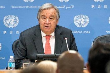 الأمين العام للأمم المتحدة أنطونيو غوتيريش يتحدث في مؤتمر صحفي بالمقر الدائم. 12 يوليو/تموز 2018.