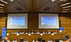 UN Office on Drugs and Crime (UNODC) Executive Director Yury Fedotov (centre) participated in a special event in Vienna on 14 September 2017 for UNODC's 20th anniversary.