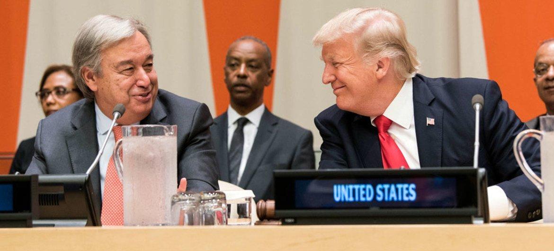 El Secretario General de la ONU, António Guterres, y el presidente de Estados Unidos, Donald Trump. Foto: ONU/Mark Garten