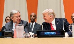 Katibu Mkuu Antonio Guterres na Rais Donald Trump wa Marekani