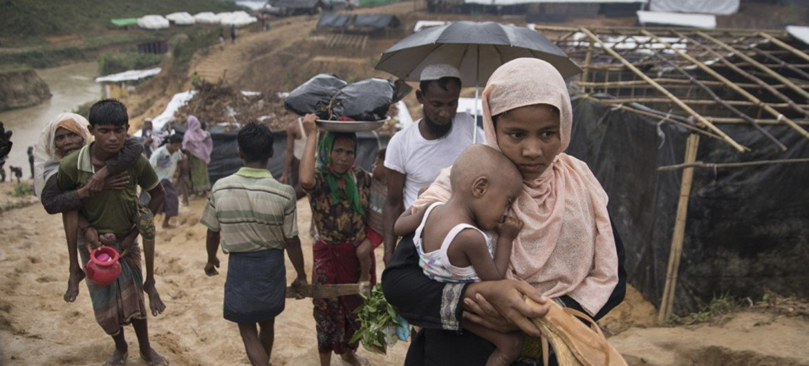 The sprawling Kutupalong camp keeps growing as new UNHCR tents are built to accommodate the hundreds of thousands of Rohingya who have fled Myanmar.
