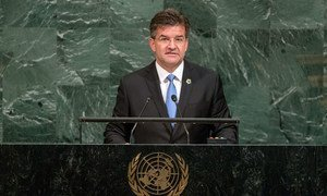 Miroslav Lajčák, President of the 72nd session of the General Assembly, addresses the annual general debate.