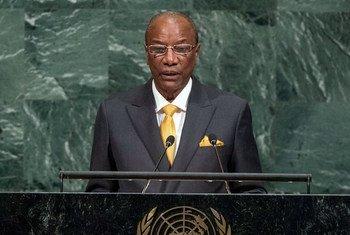 Le Président de la République de Guinée, Alpha Condé, lors du débat général de l'Assemblée générale des Nations Unies. Photo ONU/Cia Pak
