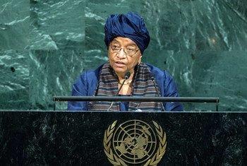 La Présidente du Libéria, Ellen Johnson Sirleaf, lors du débat général de l'Assemblée générale. Photo ONU/Cia Pak