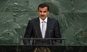 Sheikh Tamim bin Hamad Al-Thani, Amir of the State of Qatar, addresses the General Assembly's annual general debate.