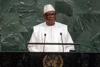 Le Président du Mali, Ibrahim Boubacar Keita, lors du débat général de l'Assemblée générale. Photo ONU/Cia Pak