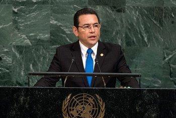 El presidente de Guatemala, Jimmy Morales, en la Asamblea General de la ONU. Foto: ONU/Cia Pak
