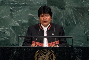 President Evo Morales Ayma of the Plurinational State of Bolivia addresses the General Assembly's annual general debate.