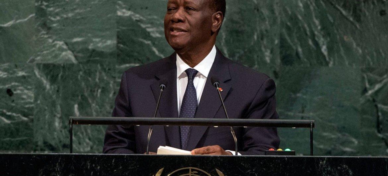 Le Président de la Côte d'Ivoire, Alassane Ouattara, lors du débat général de l'Assemblée générale des Nations Unies. Photo ONU/Cia Pak