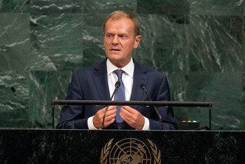 Donald Tusk, Président du Conseil européen de l'Union européenne, s'exrprime lors du débat général de la 72ème session de l'Assemblée générale.