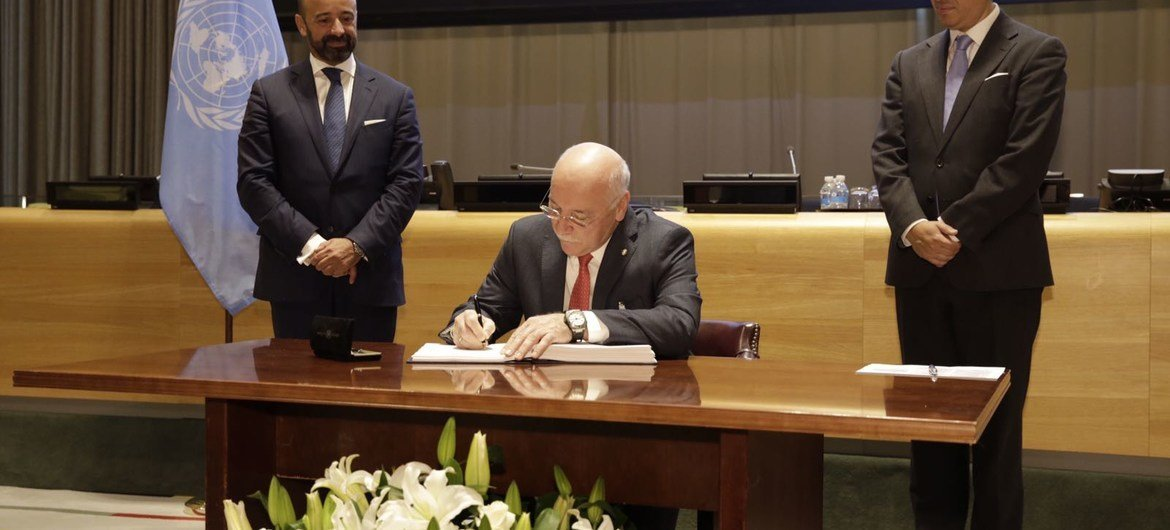 Signing ceremony at UN Headquarters in New York for the Treaty on the Prohibition of Nuclear Weapons, 20 September 2017.