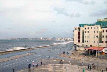 The coastline of Havana, Cuba gets heavily pounded by Hurricane Irma.