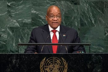 Le Président de l'Afrique du Sud, Jacob Zuma, lors du débat général de l'Assemblée générale des Nations Unies. Photo ONU/Cia Pak