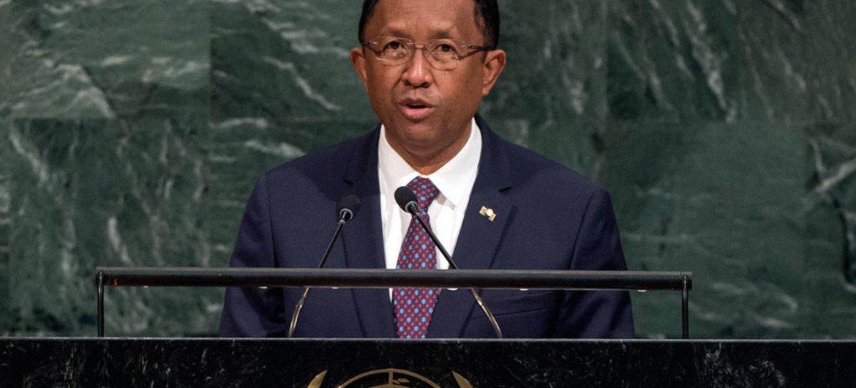 Le Président de Madagascar, Hery Martial Rajaonarimampianina Rakotoarimanana, lors du débat général de l'Assemblée générale des Nations Unies. Photo ONU/Cia Pak