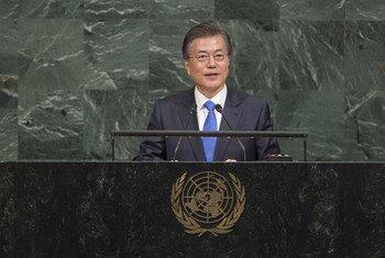 韩国总统文在寅在联大一般性辩论中发言。联合国图片/Cia Pak