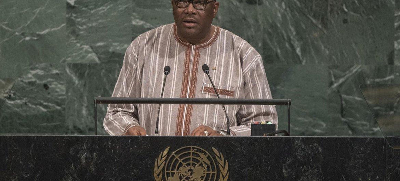 Le Président du Burkina Faso, Roch Marc Christian Kaboré, lors du débat général de l'Assemblée générale des Nations Unies. Photo ONU/Cia Pak