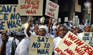 Women and girls in Monrovia, Liberia, staged a peaceful sit-in protest against gender-based violence in 2007.
