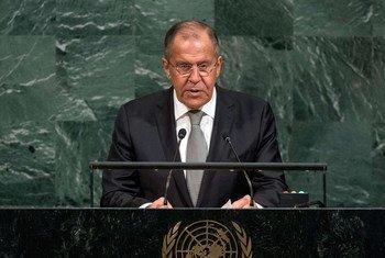 Le Ministre russe des affaires étrangères, Sergueï Lavrov, lors du débat général de l'Assemblée générale des Nations Unies. Photo ONU/Cia Pak