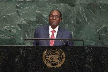 津巴布韦总统穆加贝2017年9月在联大一般性辩论中发言。联合国图片/Cia Pa