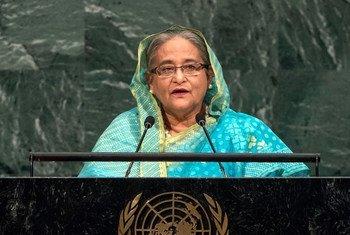 La Première ministre du Bangladesh, Sheikh Hasina, lors du débat général de l'Assemblée générale des Nations Unies. Photo ONU/Cia Pak