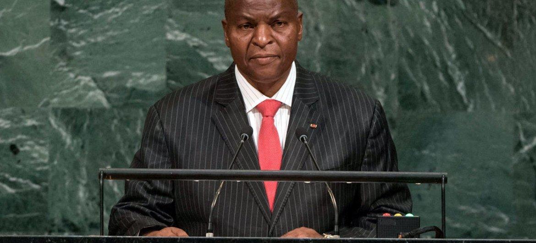 Le Président de la République centrafricaine, Faustin Archange Touadéra, lors du débat général de l'Assemblée générale des Nations Unis. Photo ONU/Cia Pak