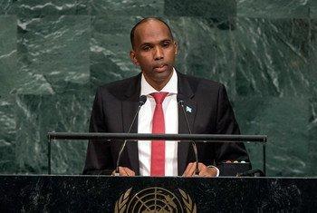 Le Premier ministre de la Somalie, Hassan Ali Khayre, lors du débat général de l'Assemblée générale des Nations Unies. Photo ONU/Cia Pak