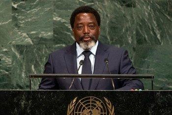 Le Président de la République démocratique du Congo (RDC), Joseph Kabila, lors du débat général de l'Assemblée générale des Nations Unies. Photo ONU/Cia Pak