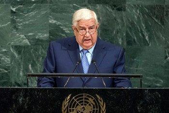 Walid Al-Moualem, viceprimer ministro y ministro de Asuntos Exteriores de Siria, en la Asamblea General de la ONU. Foto: ONU/Cia Pak