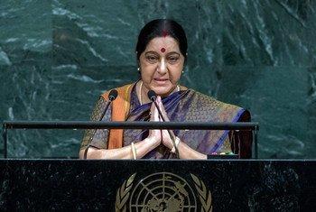 印度外长斯瓦拉吉23日在第72届联大一般性辩论会上发言。联合国图片/Cia Pak