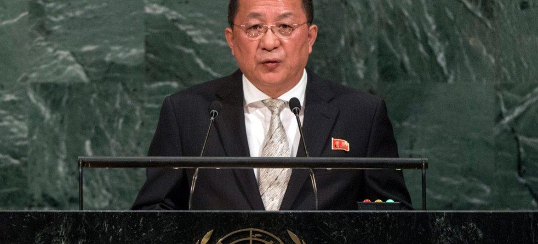 Ri Yong Ho, ministro de Asuntos Exteriores de la República Democrática Popular de Corea, en la Asamblea General de la ONU. Foto: ONU/Cia Pak